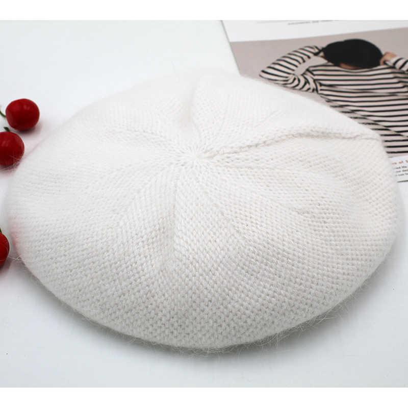 [Rancyword] moda yeni kadın Angora tavşan katı renk bere kadın Bonnet kapaklar kış tüm eşleşen sıcak yürüyüş şapka bere şapka