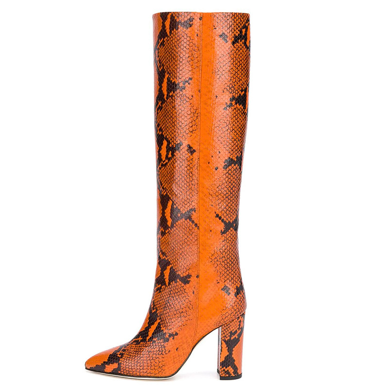 New Brand Women's Long Boots Snake Pattern Genuine Leather Pointed Toe Square Heel Knee-high Boots Leopard Rome Shoes Botas 2020
