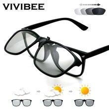 Vivibee 2021 polarizado piloto flip up clip em óculos de sol homem photochromic polarizado mulher óculos de sol mudança de cor noite condução