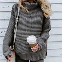 Sweter damski свитер Pull Femme Jersey Mujer Sweter z golfem ciepły kobiecy Sweter solidny damski Sweter z dzianiny z długim rękawem