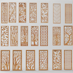 26pcs Panels Partition 3d model for cnc in STL file format Hollow out floral carving Door and window partition DIY Home Decor