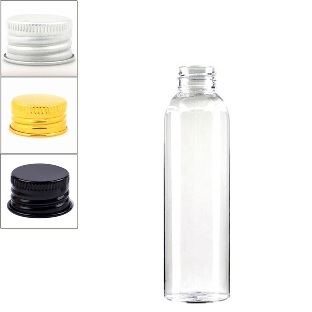 120ml Empty Cosmo Round Plastic Bottle , Clear Pet Bottle With Silver/gold Aluminum Lid