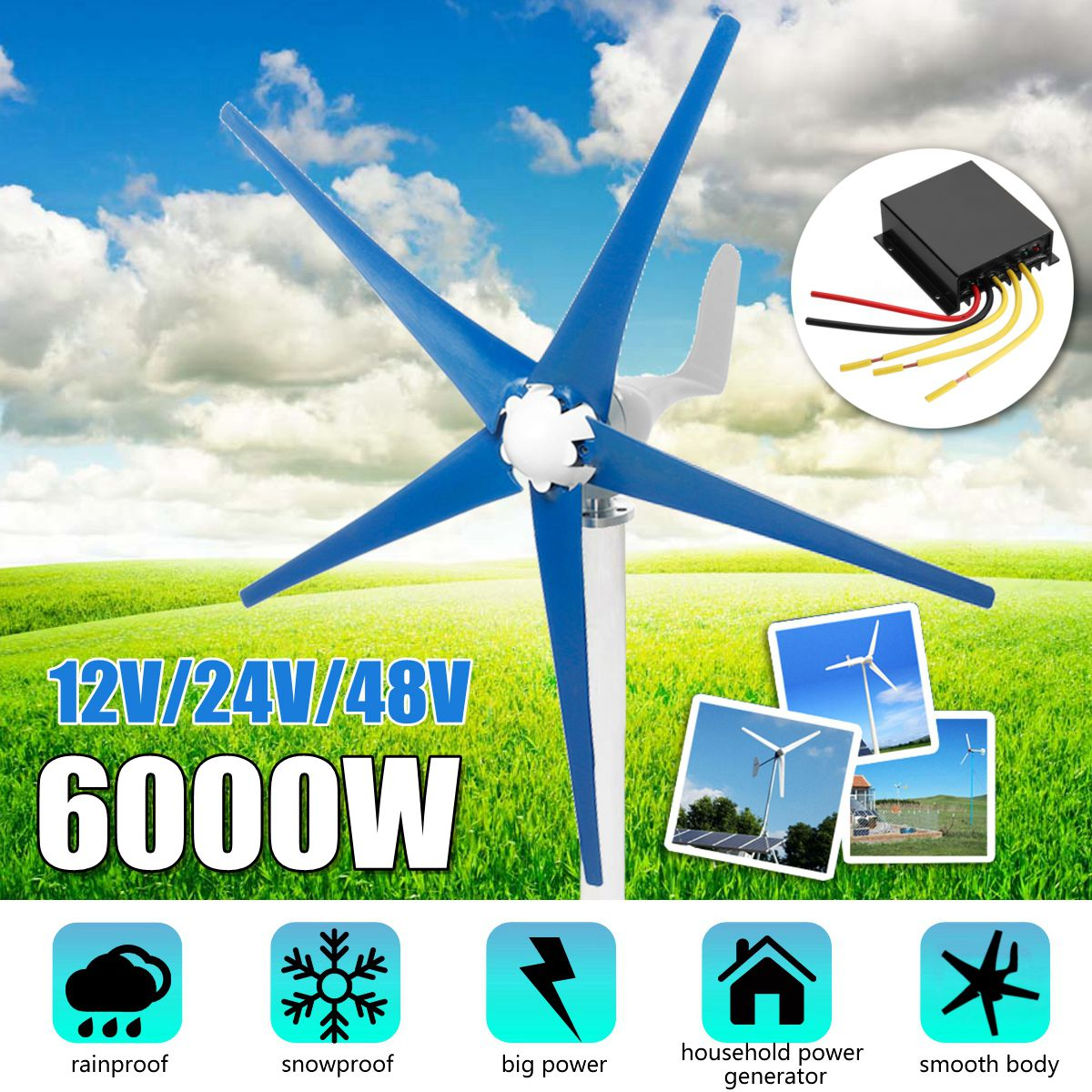 6000W 12/24/48V Horizontal-Axis 5-Blades Wind Turbines Generator 3-Phase AC Permanent-Magnet Synchronous power Supply Generator