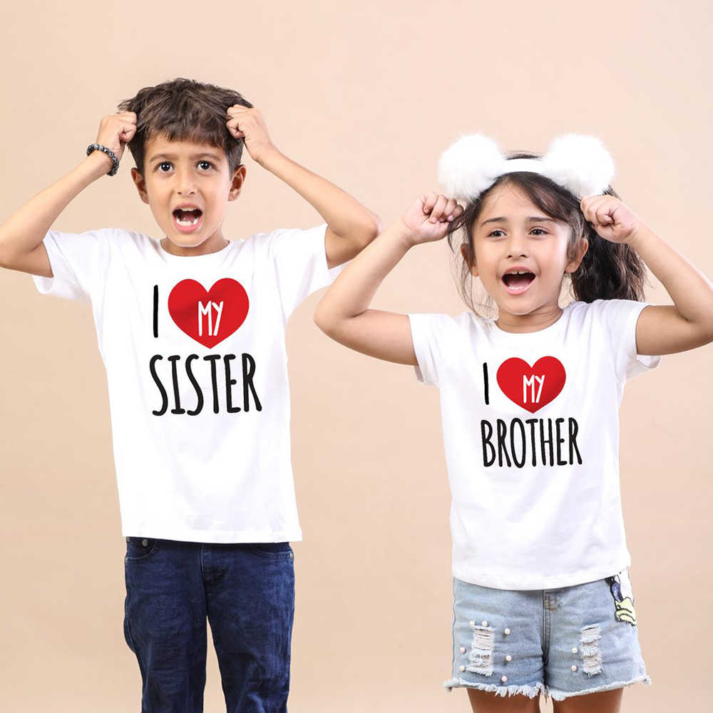 I Love My Sister/ Brother Kids Matching Tshirt Boys Girls Tops Summer Short Sleeve Toddler Shirt Casual Children Family Look Tee