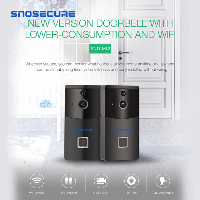 Snosecure ドアベルカメラスマート低消費 wifi カメラワイヤレススマートビデオナイトビジョン pir 検出チャイム