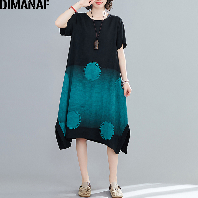 DIMANAF Plus Size Women Dress Summer Sundress A-Line Vintage Elegant Female Lady Vestidos Loose Casual Print Dresses Clothing