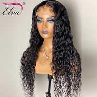 Elva Hair-pelucas de cabello humano para mujeres negras, 360 de encaje Frontal, prearrancado con pelo de bebé, Remy, pelucas de cabello humano