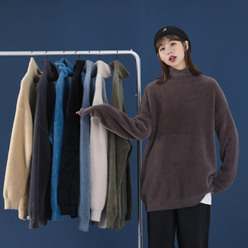 Winter Mink Mohair Turtleneck Sweaters Female Solid Cashmere Jumper Long Sleeve Casual Women Sweater Unisex Warm Thick Pullovers thick warm women turtleneck 2020 winter women cashmere sweaters and pullovers knit long sleeve wool sweater female jumper