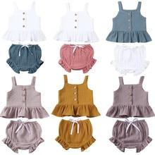 Одежда для новорожденных девочек 1-5 лет; майка без рукавов на пуговицах+ мини-шорты; комплект одежды из 2 предметов