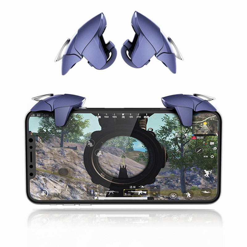 1 Pair Of PUBG Mobile Game Controller Blue Shark Gamepad Triggers Aim Button L1 R1 Shooter Joystick For Smart Phones Gaming