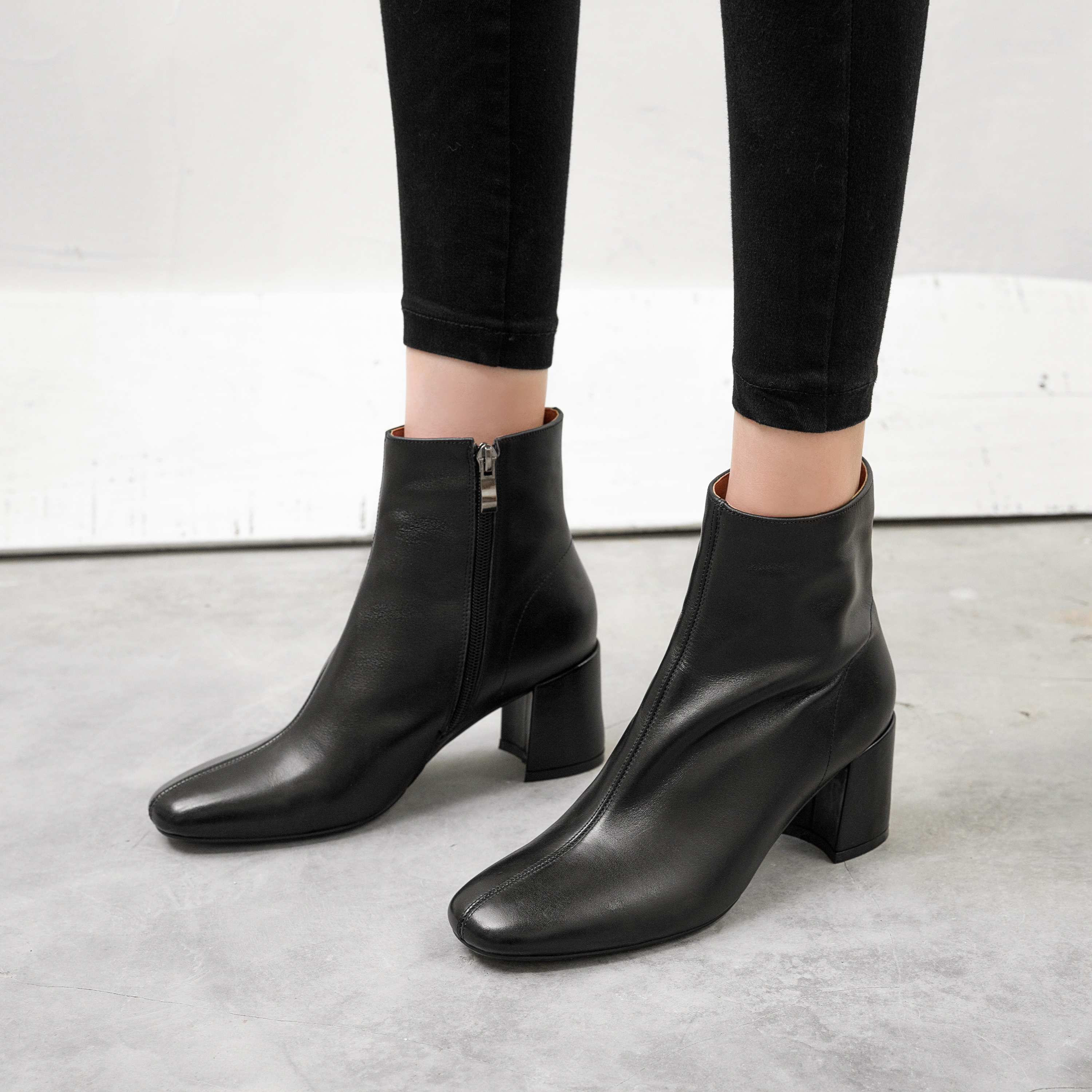 Image 5 - Krazing Pot classic basic solid genuine leather fashion simple  boots round toe high heels winter keep warm women ankle boots L05Ankle  Boots