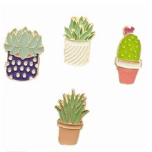 Pin jeans plant enamel pin brooch cute cactus potted metal pin and pin flower bag decorative accessory badge(China)