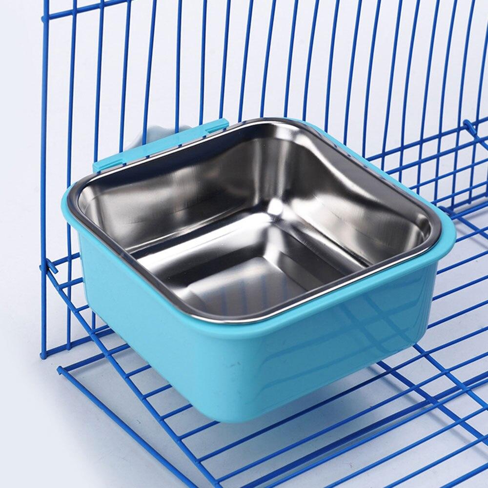 Pet Feeding Bowl Anti Choking Anti Skid Stainless Steel Travel Food Water Feeder Hanging Fixed Dish For Puppy Dog Cat Pet Supply