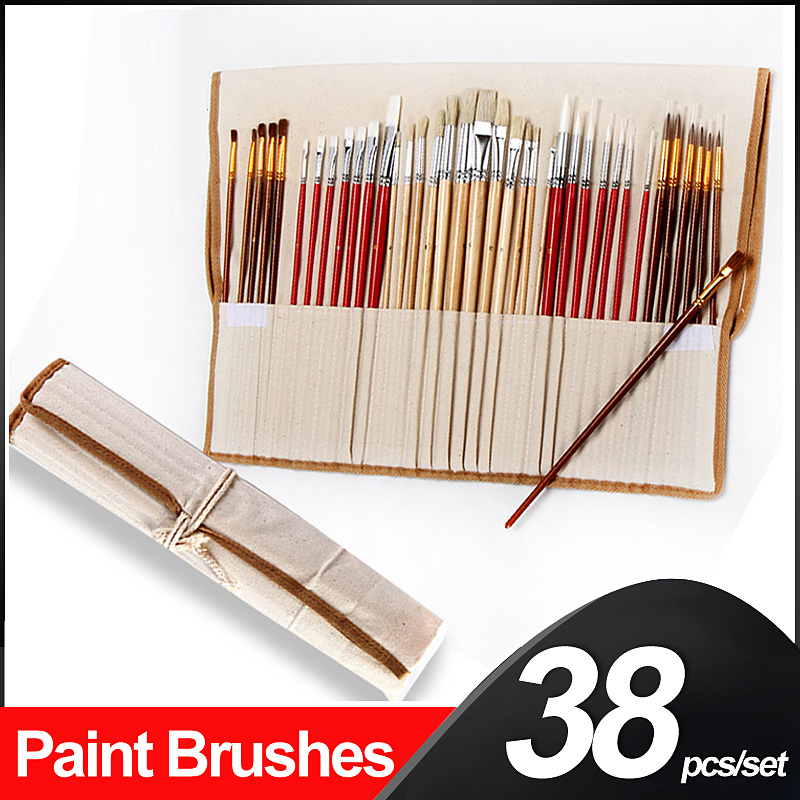 38 Pcs Paint Brush Set With Canvas Bag Wooden Handle Artistic Brushes Art Supplies For Oil Acrylic Watercolor Painting Drawing