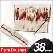 38 個ペイントブラシセットでキャンバスバッグ木製ハンドル芸術ブラシアート用品オイルアクリル水彩画デッサン