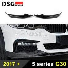 цена на Front Bumper Splitter For BMW G30 G31 Sport Sedan Carbon Fiber Front Lip 5 series 2017 2018 Car Styling