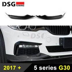 Splitter przedniego zderzaka dla BMW G30 G31 Sport Sedan z włókna węglowego przednia warga 5 serii 2017 2018 samochodów stylizacji