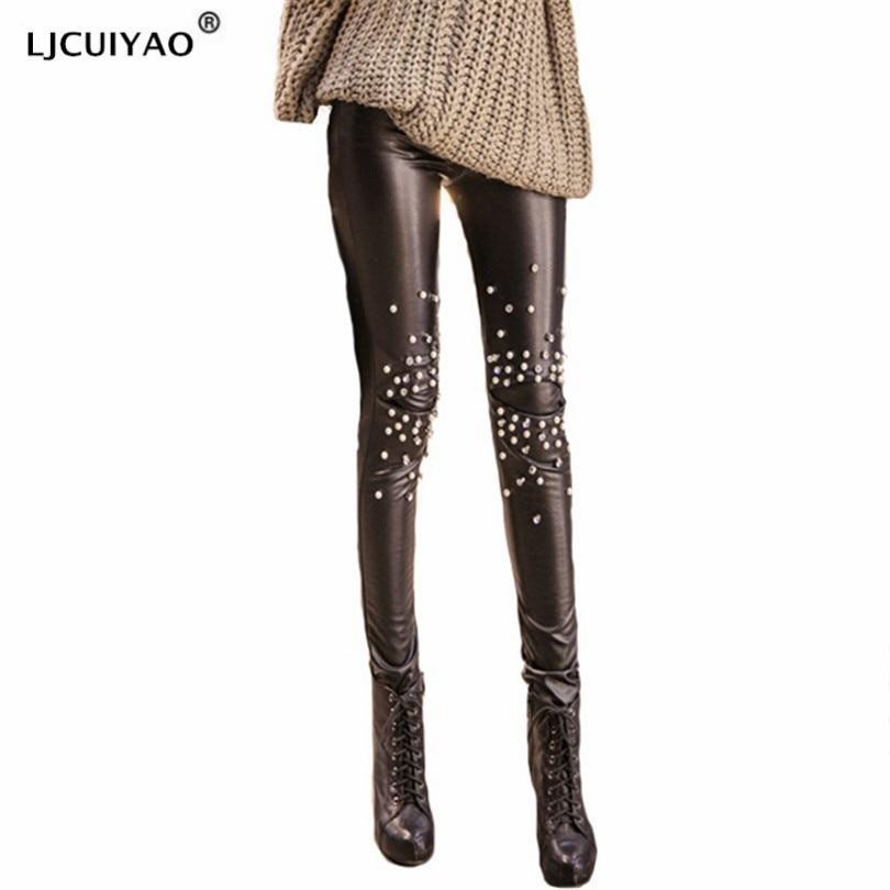 LJCUIYAO Autumn PU Faux Leather Leggings Women Skinny Rivets Lace Pants Female Ladies Fleece Stretch Pencil Leggins Plus Size