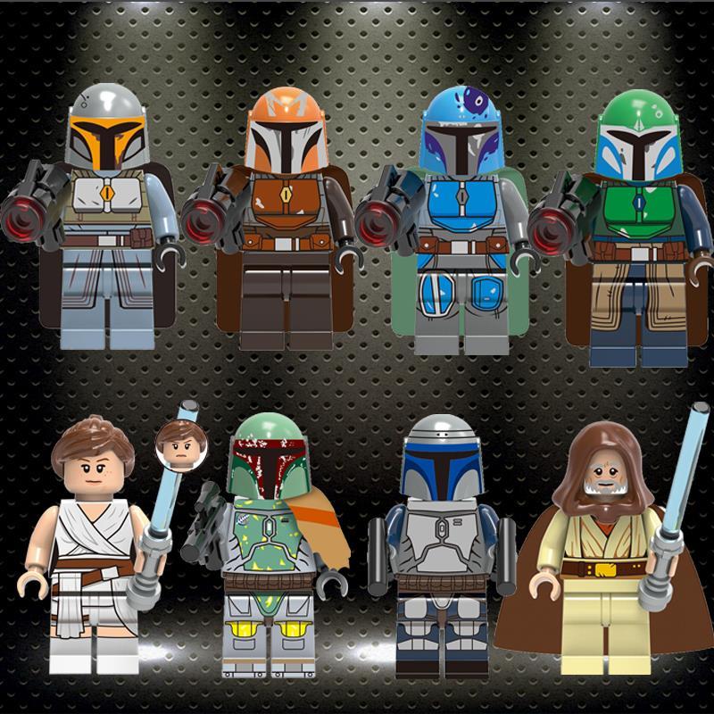Legoed Star War Series Model Luke Skywalker Mandalorian Warrior Boat Fett Rey Building Blocks Minifigured Child Toys Gift G0102