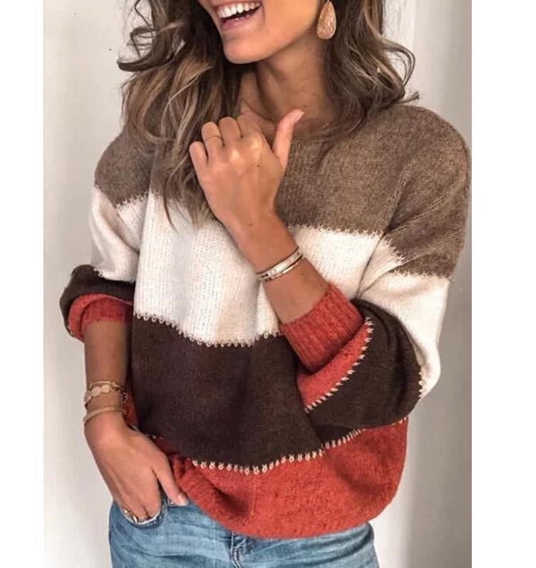 Fashion Patchwork O-neck Autumn Winter Sweater 2019 Women Long Sleeve Warm Knitted Sweaters Pullover Female Tops Jumper