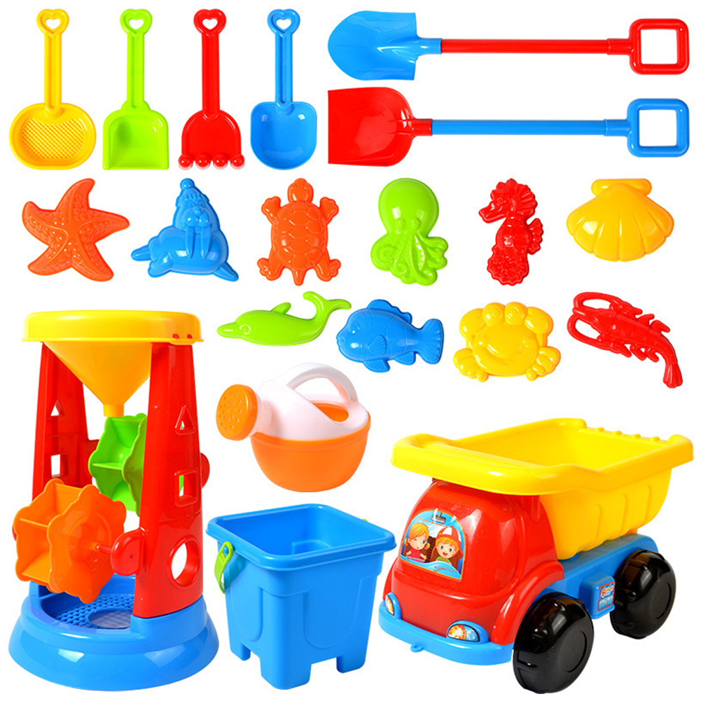 20pcs Children's Sand Playing Tool Set Boys And Girls Sand Digging And Water Playing Beach Toys Beach Play Kit Beach House Toys
