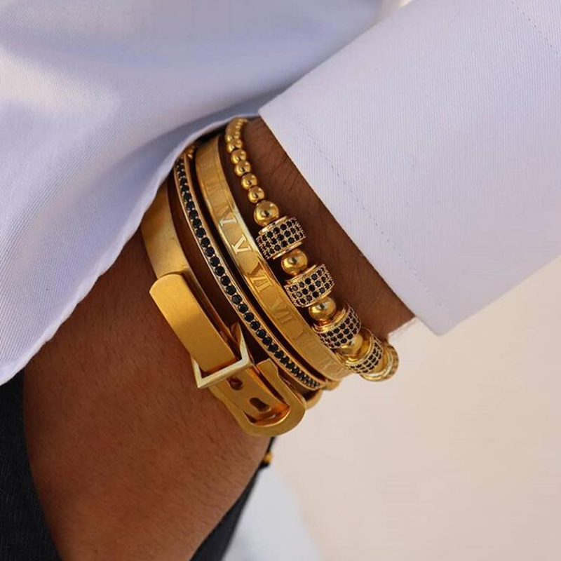 Mavis Hare Golden Masters Stack Cuff Bangle Bracelet Set Stainless Steel 8mm Roman numerals & Buckle Adjustable bead Bracelet