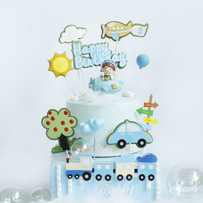 Sun Train Fighter Windmill Pilot Happy Birthday Cake Topper for Wedding Baking Suplies Party Decoration Boy Kid Sweet Gifts Товары для украшения тортов      АлиЭкспресс