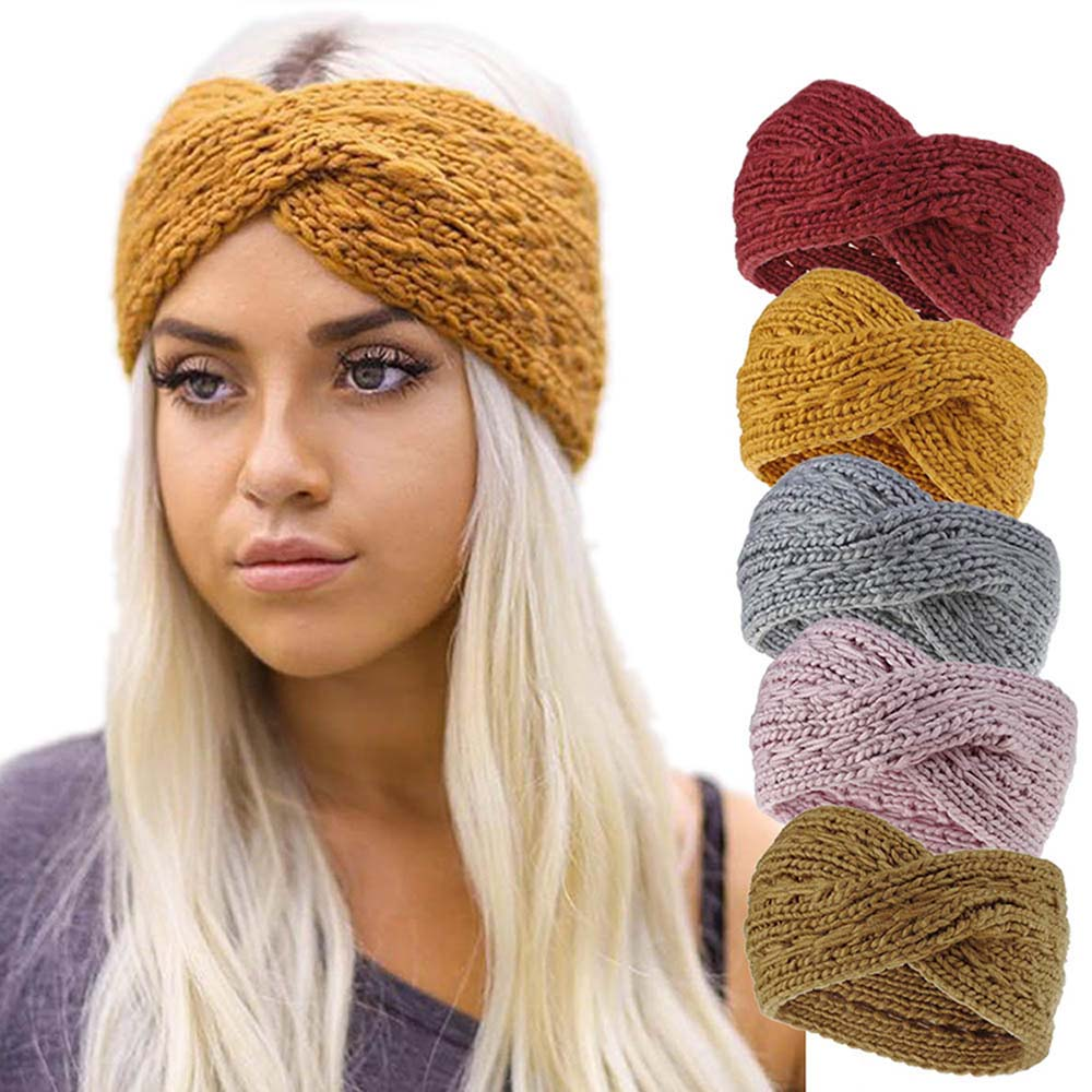 Hair Accessories For Girl Lady Women Winter Warmer Ear Knitted Headband Turban Crochet Bow Wide Stretch Hairband Headwrap