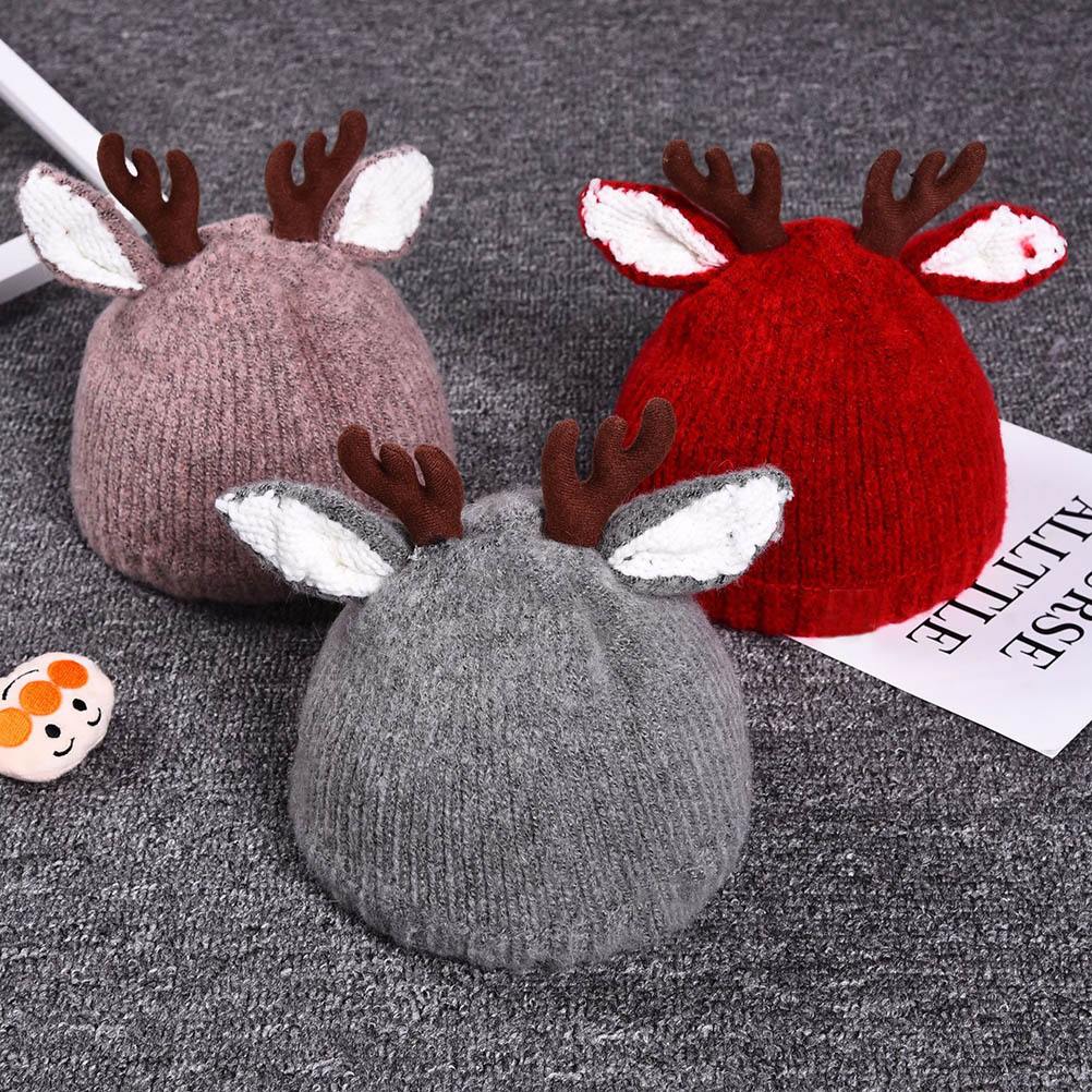 New Autumn Baby Christmas Cute Reindeer Baby Beanie Soft Warm Crochet Knitted Hat For Girls Boys Christmas Gift Kids Caps #30