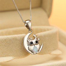 Dainty Female Blue Opal Pendant Necklace Charm Silver Color Animal Chain Necklaces For Women Cute Star Moon Owl Wedding Necklace цена 2017