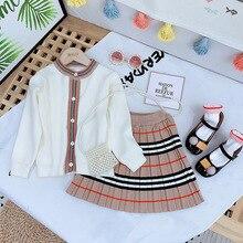 Kids Outfits Cardigan Knit Stripes Little Girls Korean Skirt Sweater Children Fashion