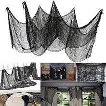 Fil de gaze noir pour Halloween, grande grille, accessoires gothiques, pour décoration de porte de maison, nouvelle collection