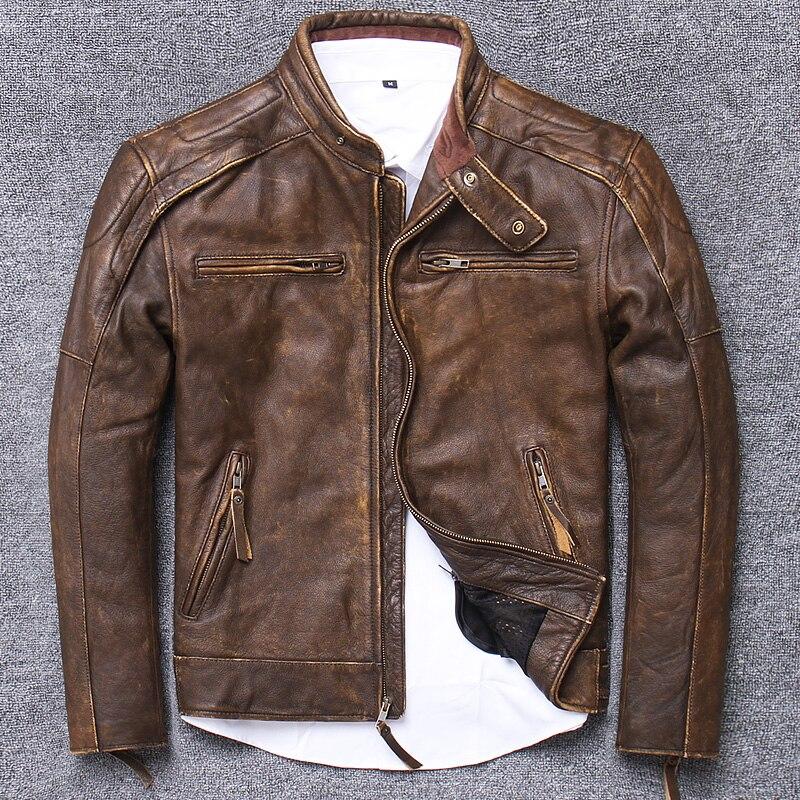 Mens Leather Jacket Causal Vintage Coat Men Autumn Outfit Fashion Biker Pocket Design Genuine Leather Jacket