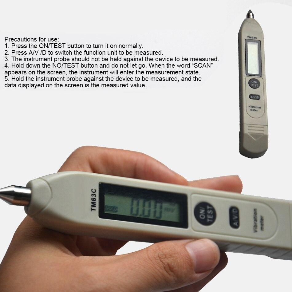 TM63C kieszonkowy długopis cyfrowy wibrometr łożysko drgań wykrywanie prędkości prędkości przyspieszenie przemieszczenia