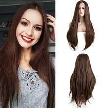 Коричневый длинный прямой синтетический кружевной передний парик Средняя часть 150% плотность термостойкие волоконные повседневные износо...