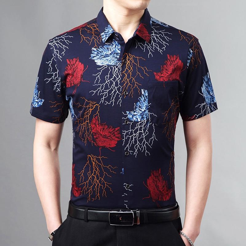 Рубашка с короткими рукавами, летняя одежда, красивая Мужская рубашка, приталенная хлопковая рубашка с цветочным принтом, мужская рубашка, ...