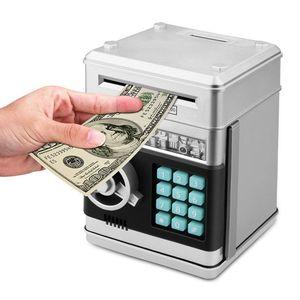 Мультфильм электронный ATM пароль Копилка наличные монета может авто прокрутки бумаги экономии денег коробка подарок для детей (серебристый...