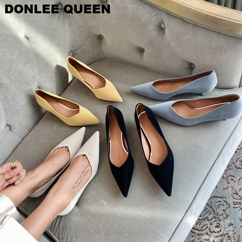 2020 New Spring Pumps Shoes Women Thin High Heel Shoe Brand Pointed Toe Shallow Med Heel Work Shoe For Party Wedding Shoes Mujer