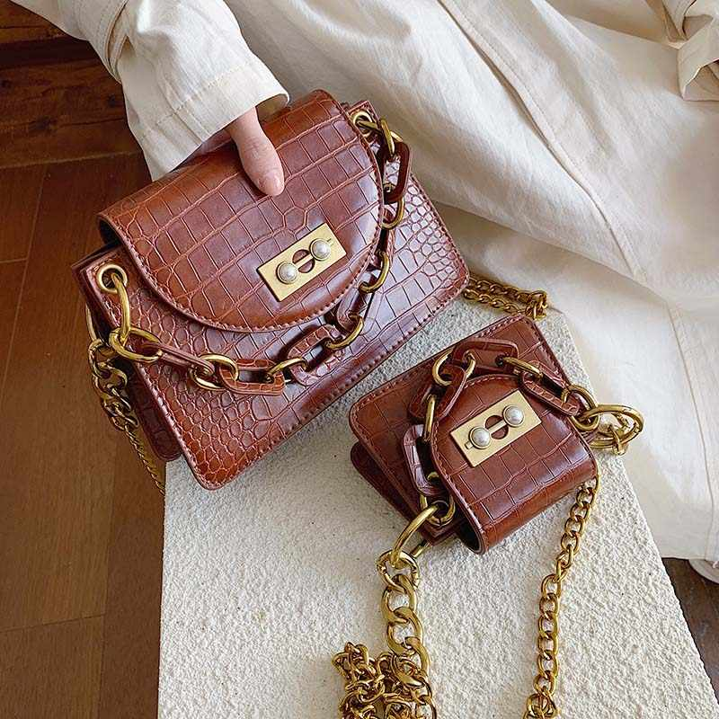 Mini PU Leather Crossbody Bags For Women 2019 Stone Pattern Shoulder Messenger Bag Solid Color Chain Designer Handbags