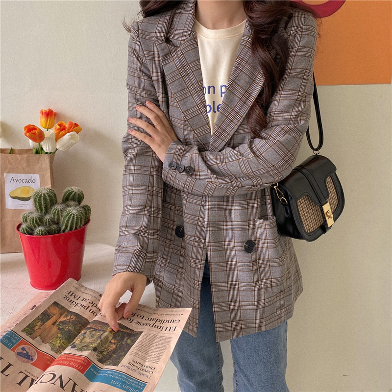 HziriP 2020 Thin High Quality Geometric Women New Arrival Stylish Office Lady Plaid Loose Chic Casual Brief All-Match Blazers