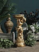 Gold Angel Boy Hold Roman Column Stastue Ornaments Craft Home Furnishing Decor Office Desktop Figurines Art Garden Flower Pot