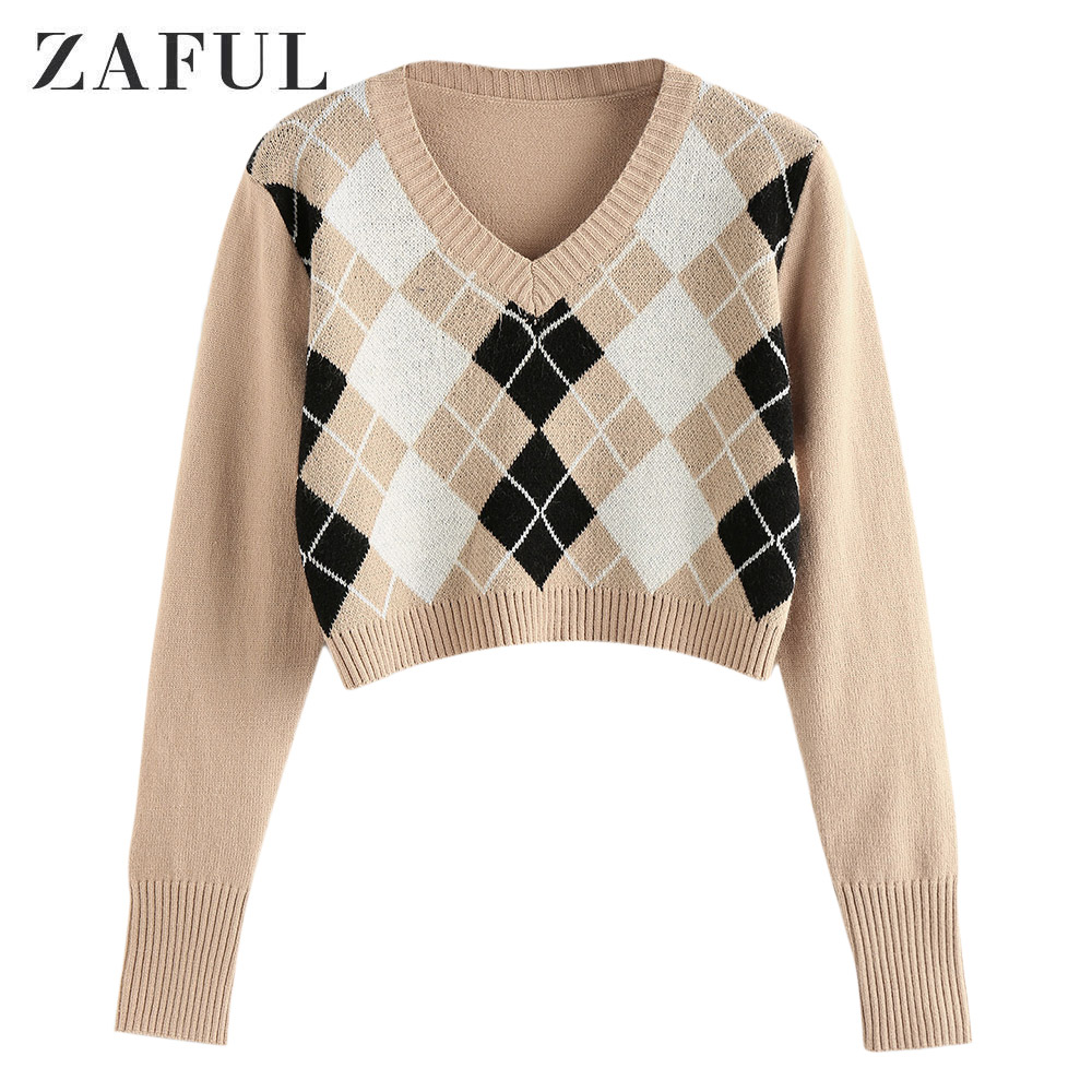 ZAFUL Women Argyle Crop Sweater V Neck Long Sleeve Pullover Elegant Knit Tops Sweater Top 2020 Fashion Autumn Outwear