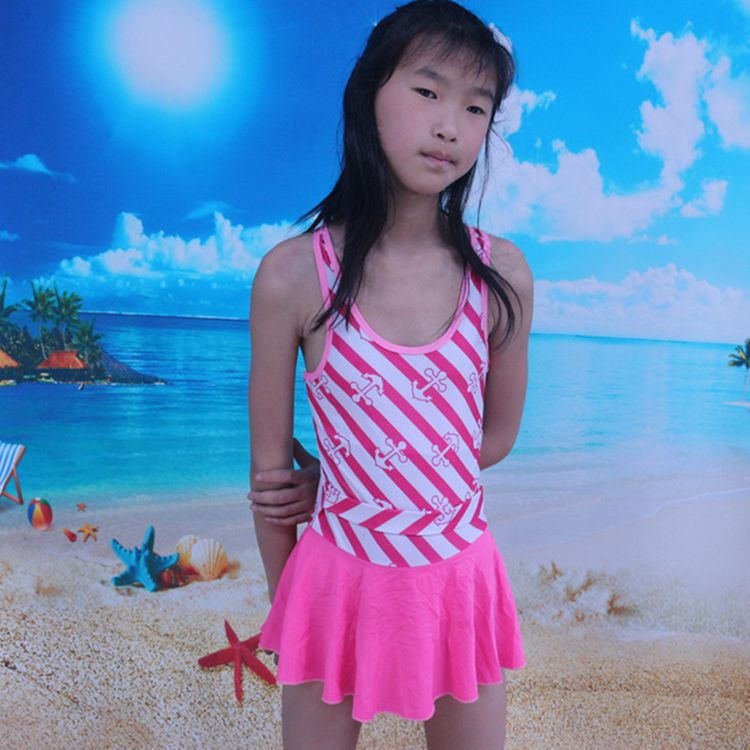 2018 New Style Navy Style GIRL'S One-piece Swimming Suit 6-12-Year-Old Women's Big Kid Bathing Suit