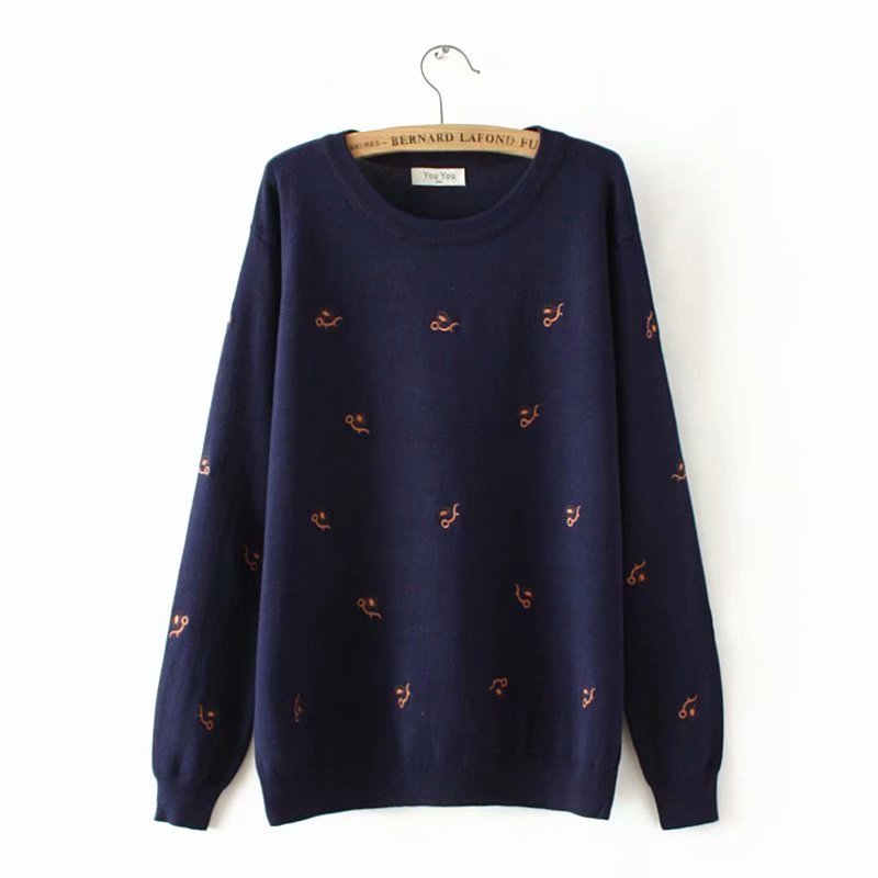 Plus Size Fall Winter O -neck Women Used Sweaters  Embroidery Ladies Sweater Wool Women 4XL Winter Clothes Women
