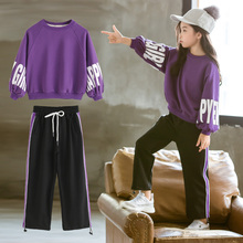 Children Autumn Suits 2020 New Style Girls Sports Clothes Sets 2pcs Purple and black Clothes Sets Kids 7 8 10 12 13 14 years old cheap HUANG-TAI-ZI Active O-Neck Pullover COTTON Polyester Full Batwing Sleeve Fits true to size take your normal size Coat Letter