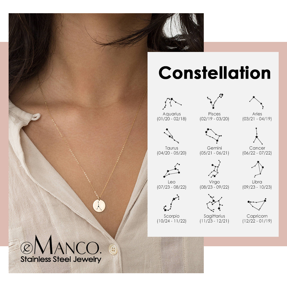 E-Manco 316L Stainless Steel Necklaces Engrave Constellation Pendants Necklace For Women Minimalist Necklace Jewelry