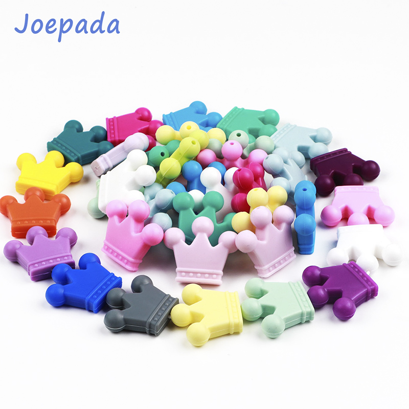 Joepada 2Pc Crown Silicone Beads Food Grade Material for DIY Baby Teething Necklace Pendant Teether