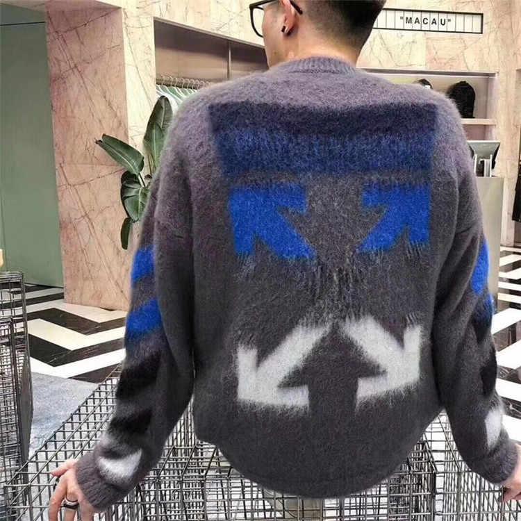 【HSY】2019 סתיו חורף חדש גבוהה סוף גברים רך מוברש אנגורה ארוג מוטיבים צווארון עגול סוודר לסרוג סוודר