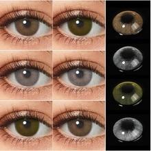 Lentes de contato naturais de brown cinza 1 par lentes coloridas lentes super naturais da cor dos olhos lentes anuais para a beleza dos olhos pupilentes