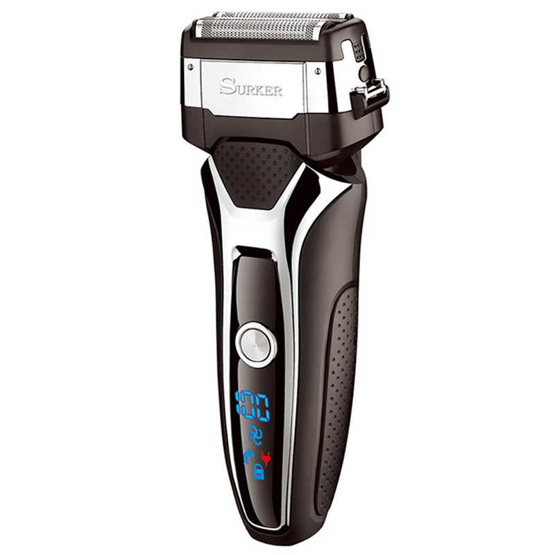 Surker Rscx-9008 Men'S Professional With Lcd Digital Display 3D Floating Blade Electric Shaver Turbocharged Rechargeable Razor F